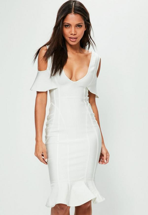 White Cold Shoulder Frill Bandage Midi Dress