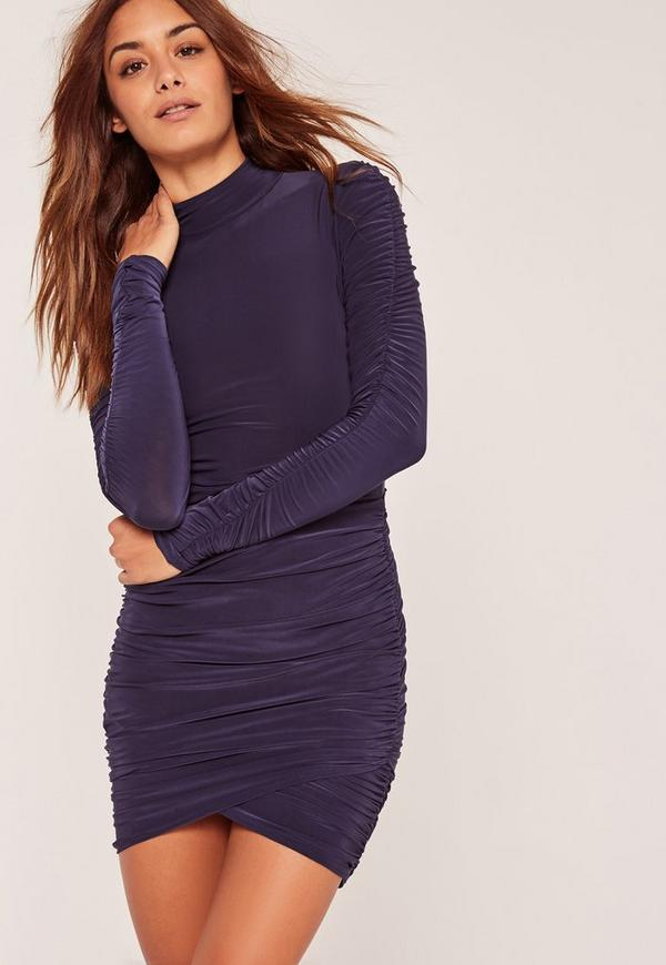 Slinky High Neck Ruched Mini Dress Blue