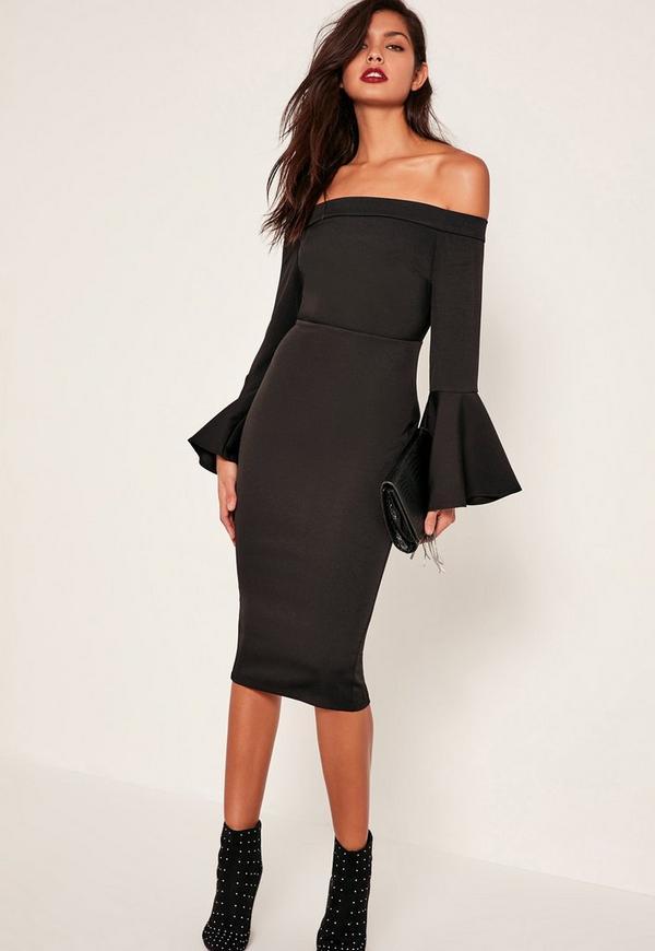 Black Bardot Frill Sleeve Tailored Midi Dress