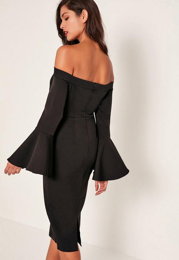 Black Bardot Frill Sleeve Tailored Midi Dress Missguided