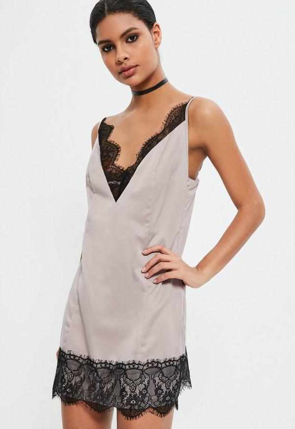 Grey Lace Trim Satin Mini Dress