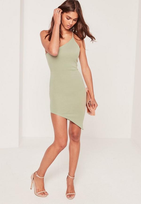 Asymmetric One Shoulder Bodycon Dress Green
