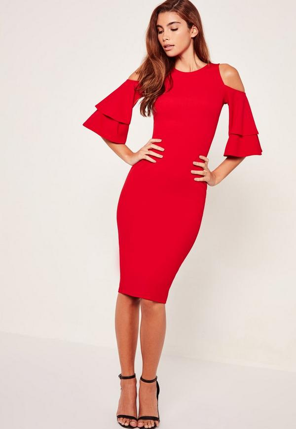Ruffle Sleeve Midi Dress Red