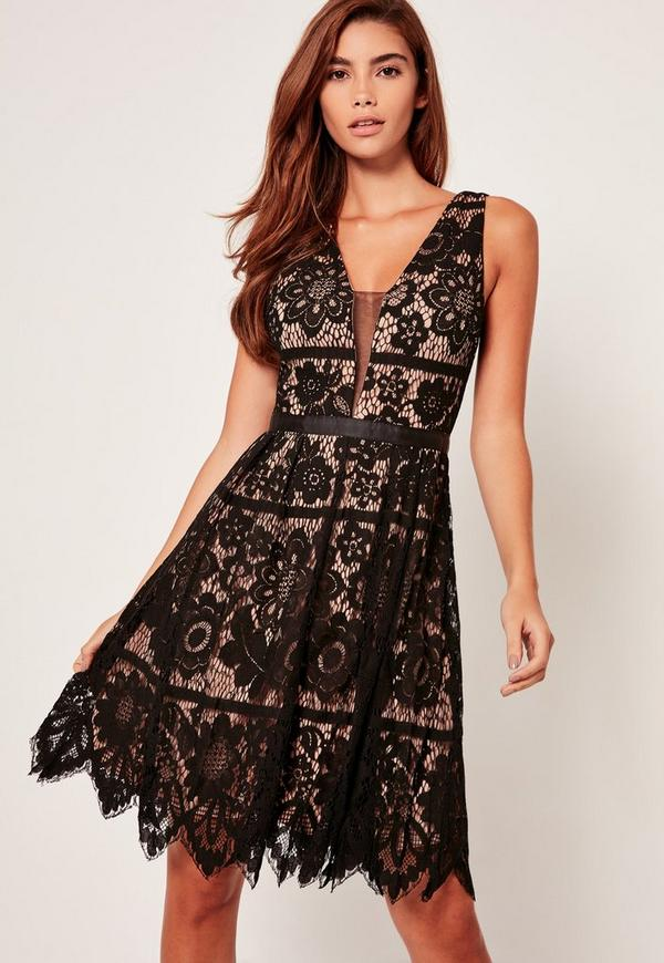 Lace Skater Midi Dress Black
