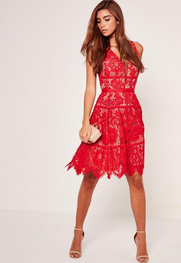 Midi Lace Skater Dress Red