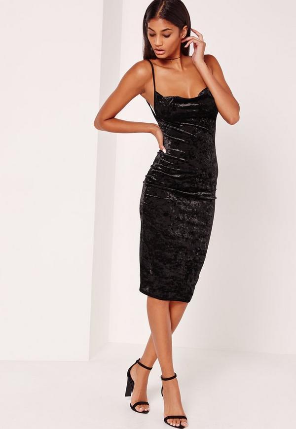 Cowl Neck Velvet Midi Dress Black