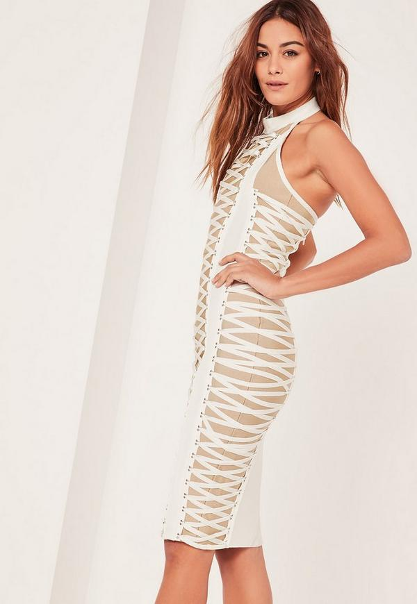 White Bandage Lace Up Detail Midi Dress