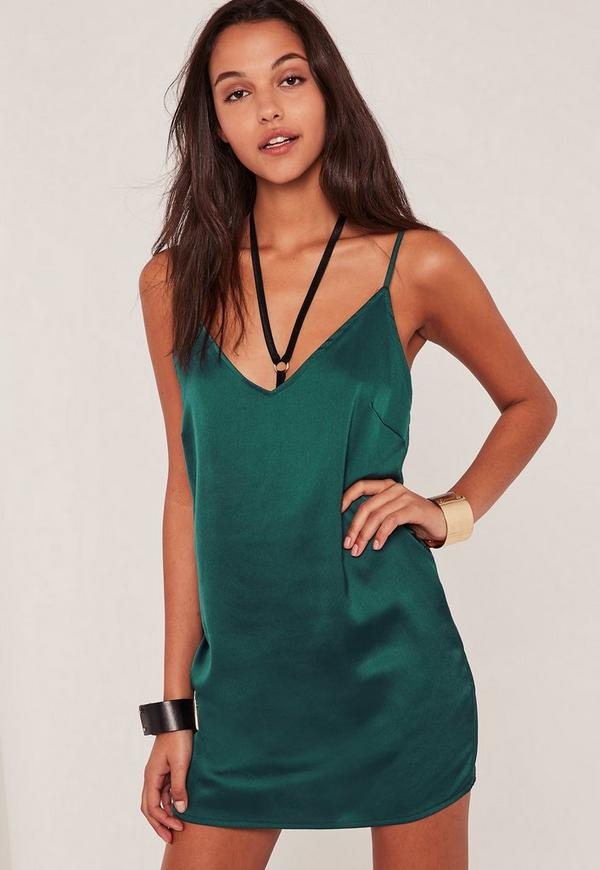Green Silky Cami Dress