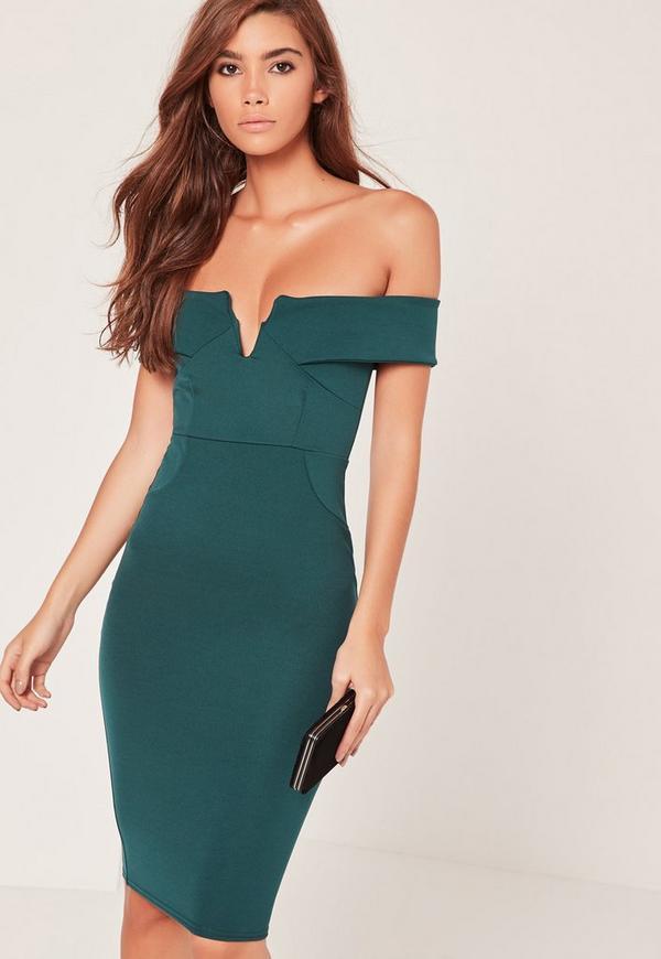 V-Front Bardot Midi Dress Green