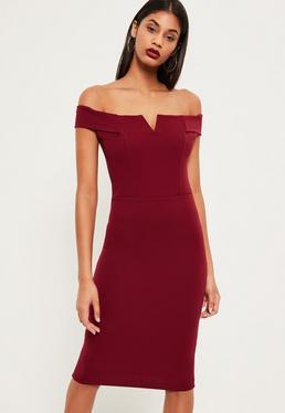 Burgundy V Front Bardot Midi Dress