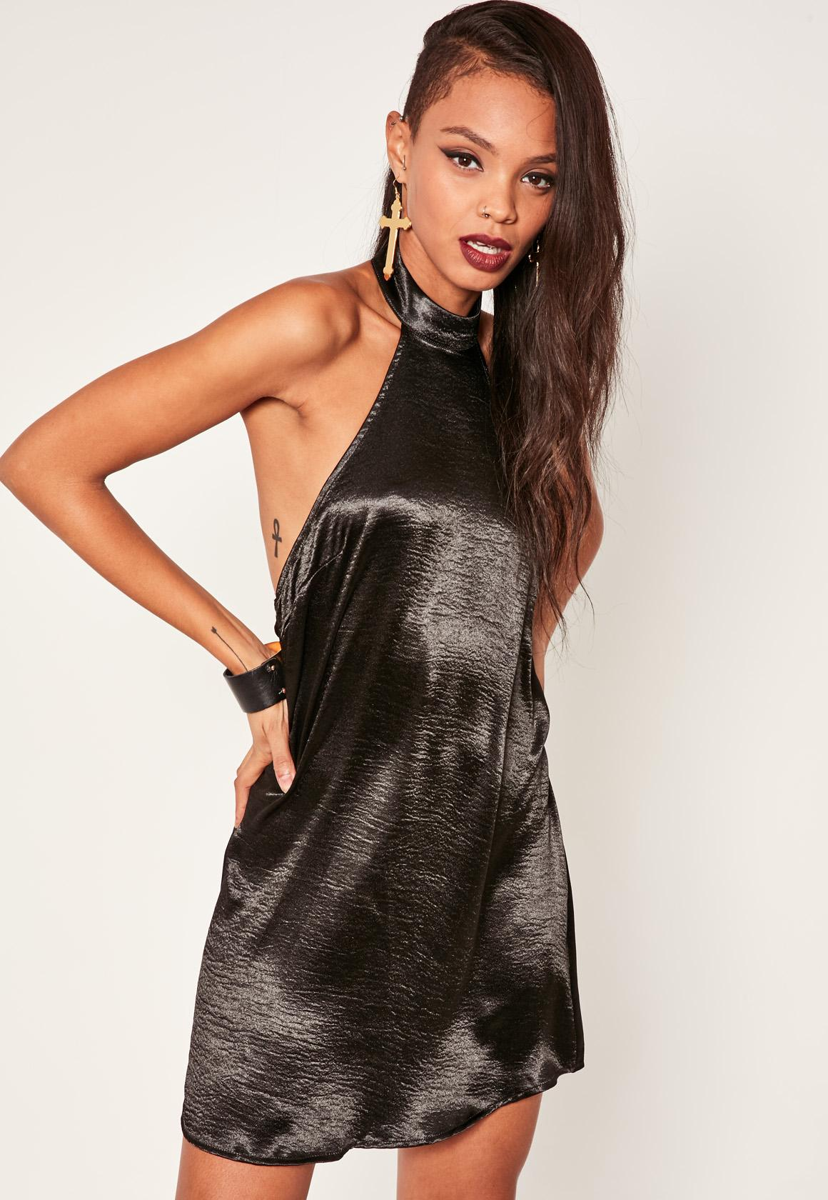 Black Satin Halterneck Dress