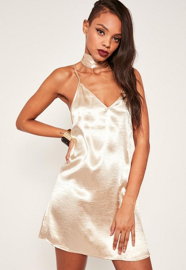 Nude Satin Choker Neck Dress