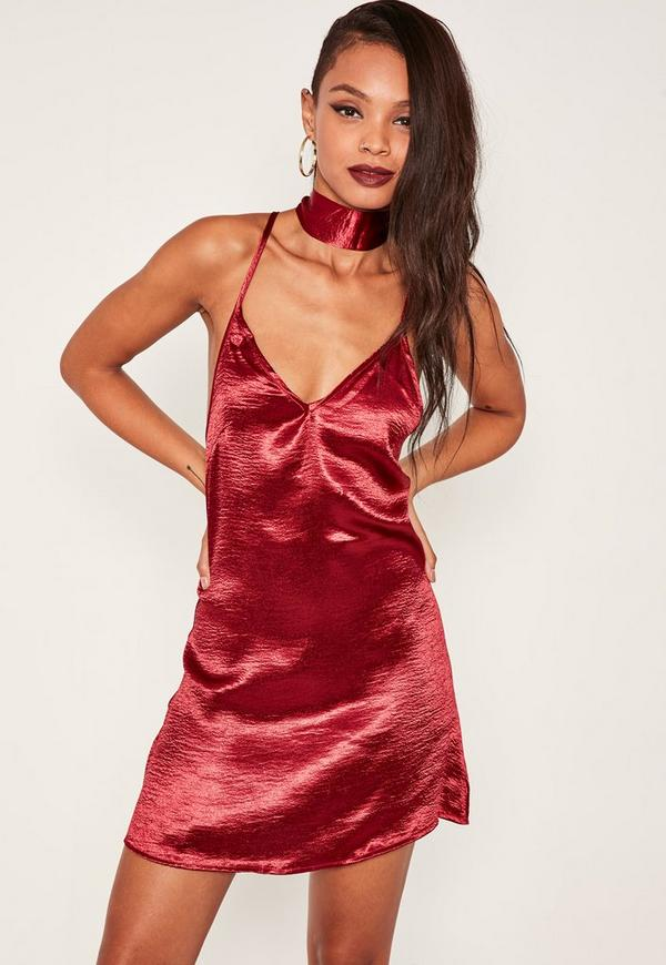 Burgundy Satin Choker Neck Dress