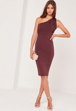 One Shoulder Bodycon Midi Dress Purple
