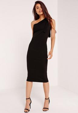 One Shoulder Bodycon Midi Dress Black