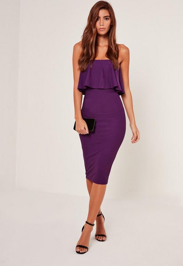 Bandeau Frill Detail Midi Dress Purple