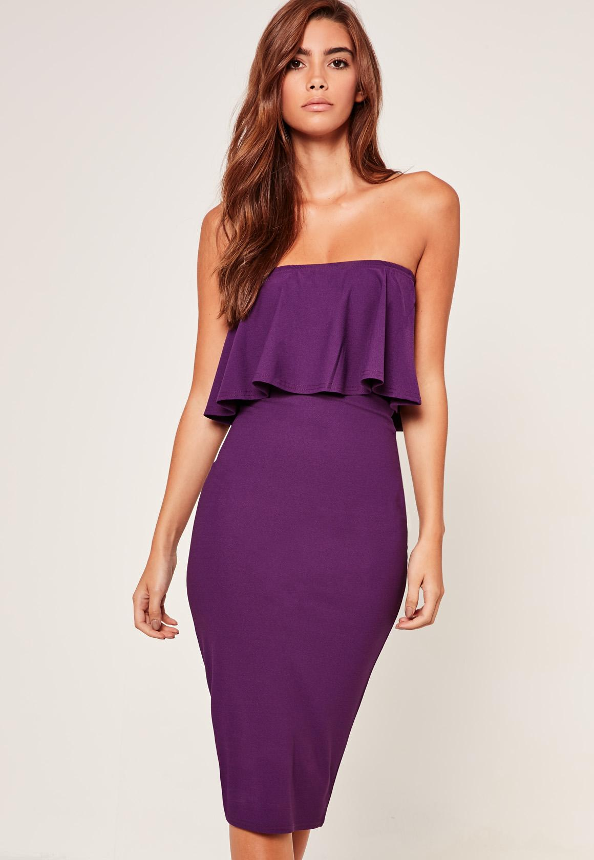 Bandeau Frill Detail Midi Dress Purple