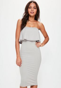Sleeveless Frill Midi Dress Ice Grey