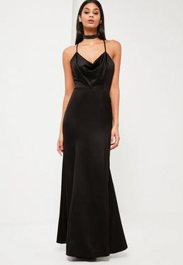 Peace + Love Black Satin Fishtail Maxi Dress