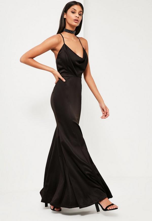 Peace   Love Black Satin Fishtail Maxi Dress | Missguided