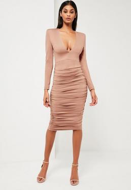 Peace + Love Nude Ruched Plunge Neck Midi Dress