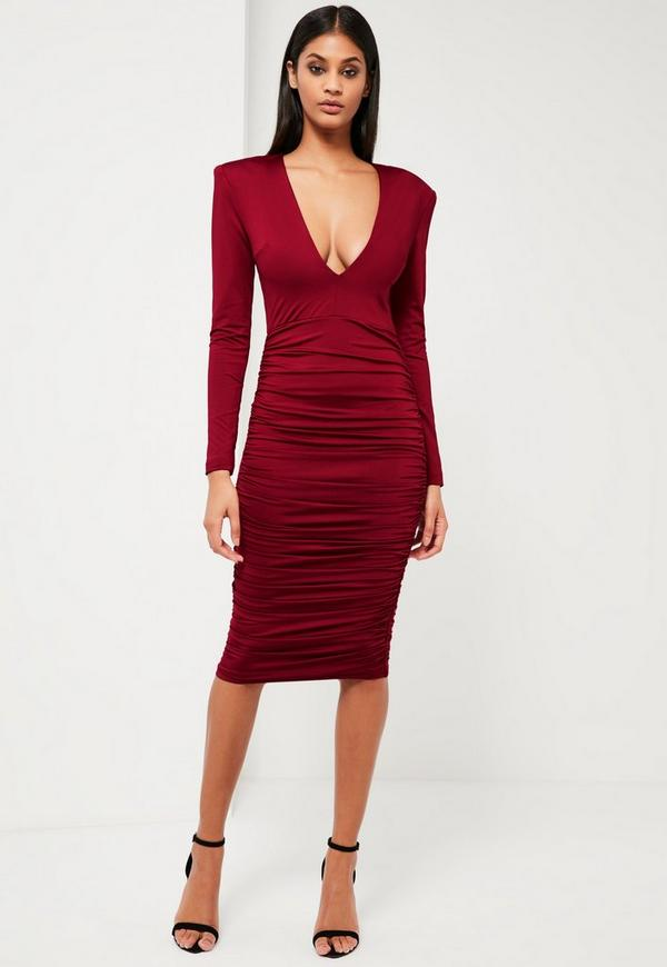 Peace + Love Burgundy Ruched Plunge Neck Midi Dress