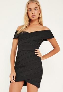 Figurbetontes Bandage-Kleid mit überkreuzter Vorderseite in Schwarz