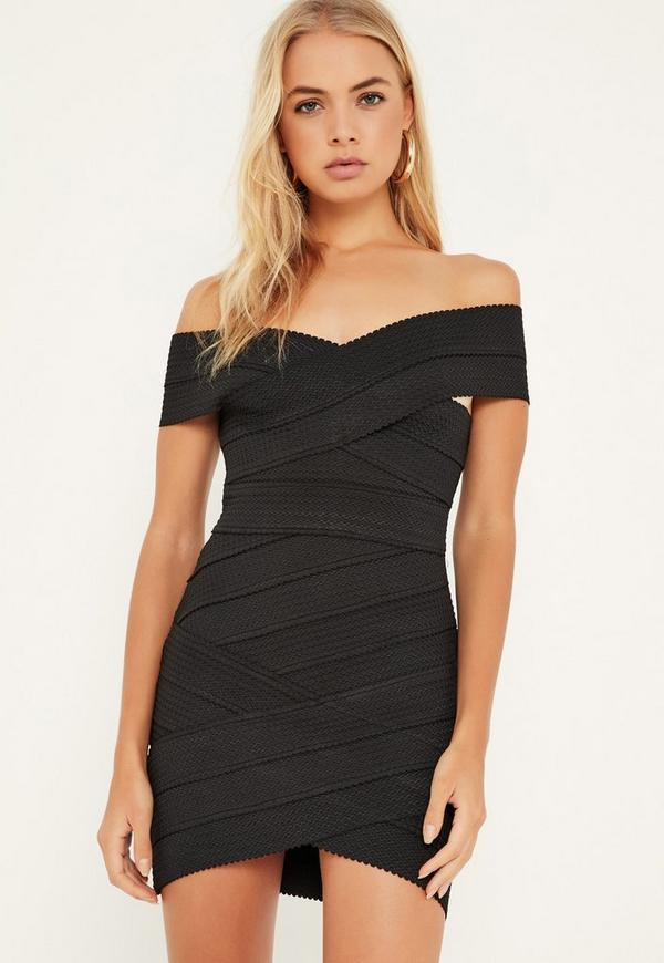 Black Bandage Cross Front Bodycon Dress Missguided