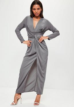 Grey Wrap Front Shirt Maxi Dress