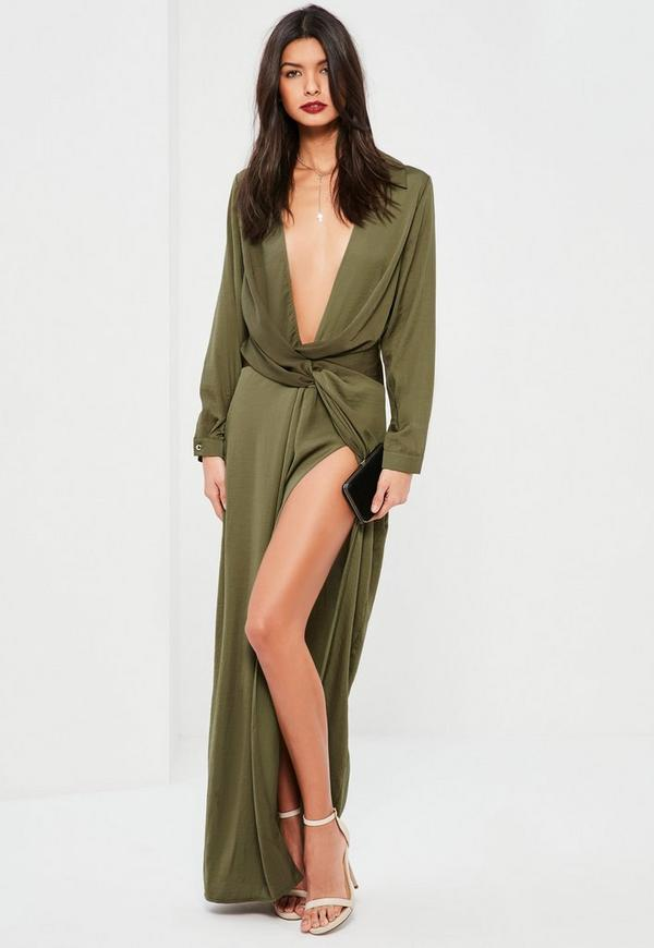 Green wrap front shirt maxi dress missguided australia for Wrap style t shirts
