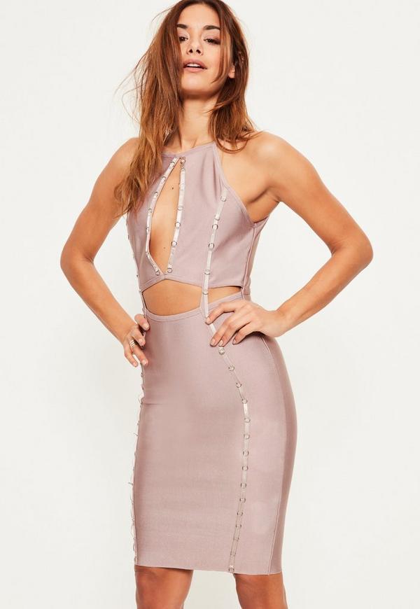 Purple Bandage Keyhole Ring Detail Midi Dress