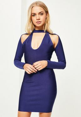 Navy Choker Cut Out Shoulder Bodycon Dress