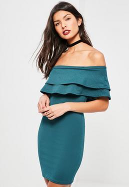 Teal Layered Frill Bardot Bodycon Dress