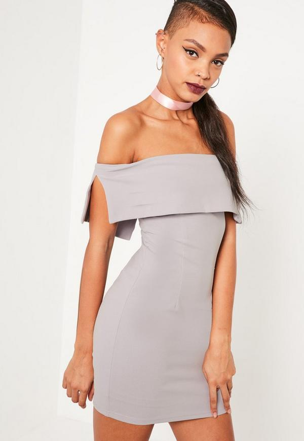 Grey Bandeau Overlay Bodycon Dress