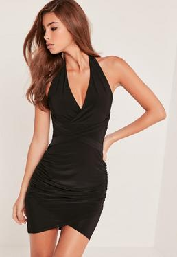 Wrap Waist Slinky Halterneck Dress Black