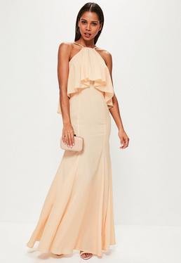 Nude Crepe Frill Maxi Dress