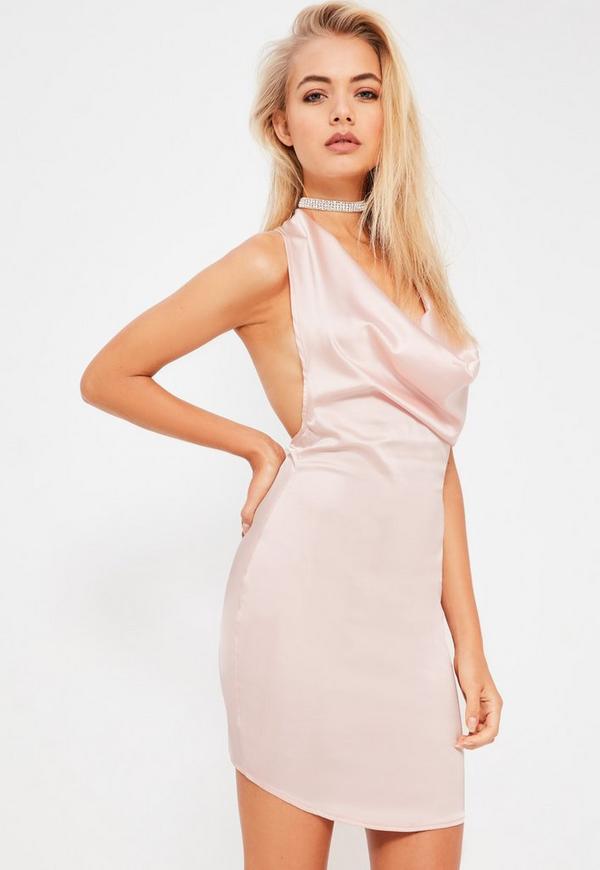 Galore Pink Satin Cowl Halterneck Mini Dress - Missguided