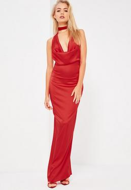 Galore Red Satin Cowl Neck Maxi Dress