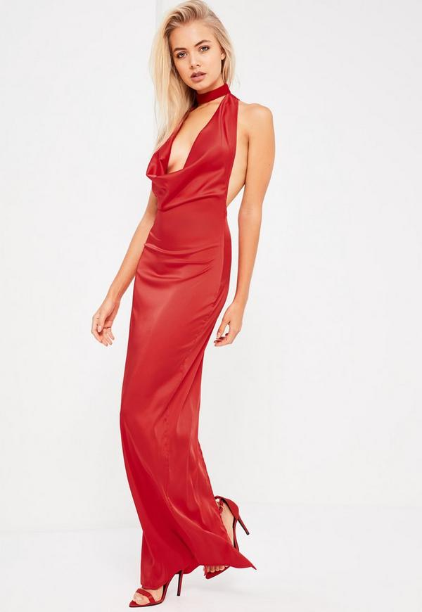 Galore red satin cowl neck maxi dress missguided for Satin cowl neck wedding dress