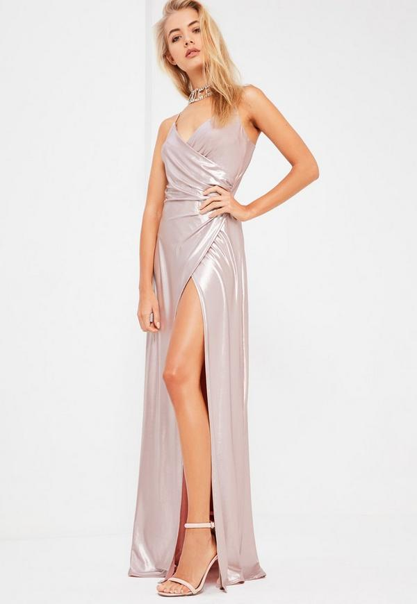Galore Pink Metallic Drape Wrap Maxi Dress | Missguided
