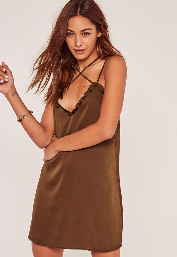 Khaki Silky Frill Detail Shift Dress