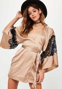 Nude Silky Kimono Lace Insert Shift Dress