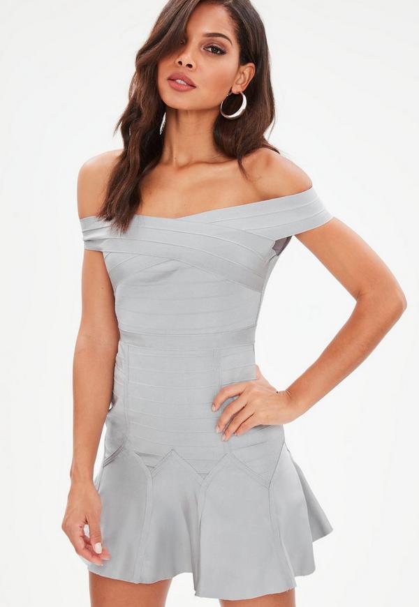 Grey Bandage Bardot Skater Dress Missguided Ireland