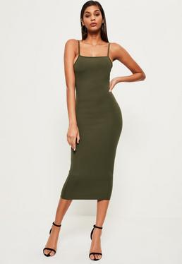 Khaki Square Neck Midi Bodycon Dress