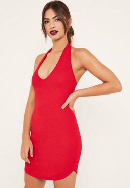 Czerwona sukienka mini z dekoltem halter