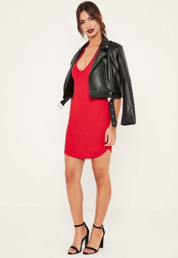 Red Halterneck Mini Dress | Missguided
