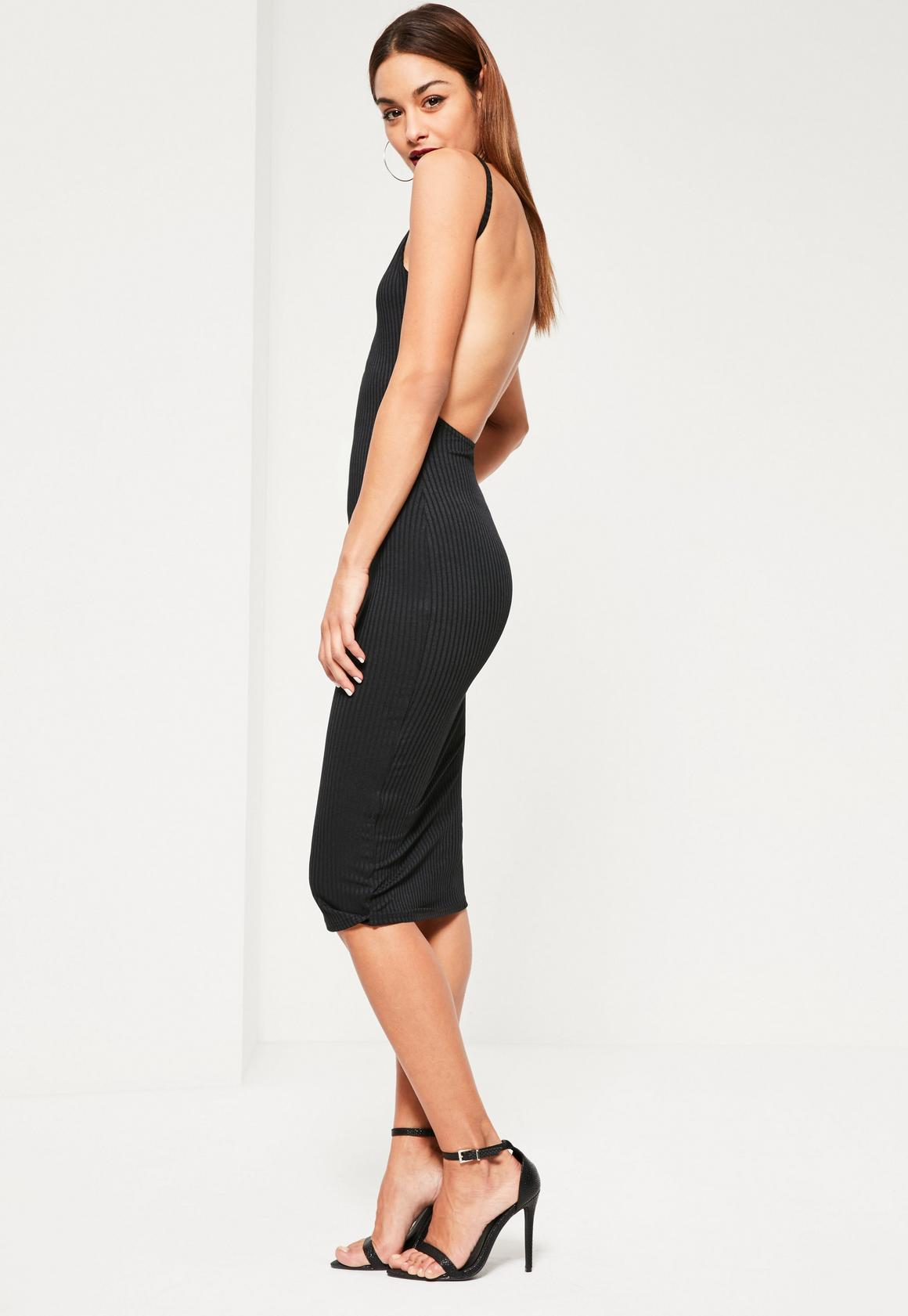 Black Square Neck Ribbed Open Back Midi Dress | Missguided