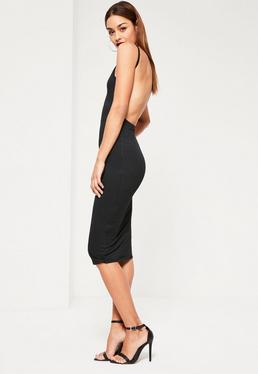 Black Square Neck Ribbed Open Back Midi Dress