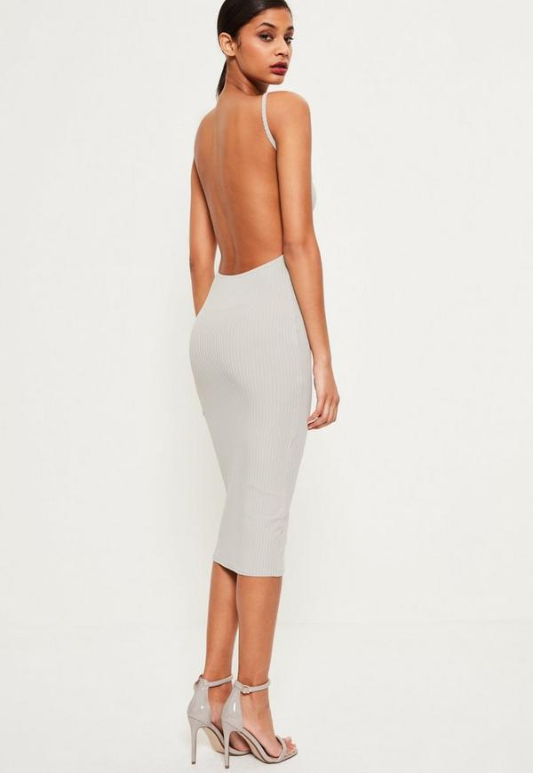 Grey Square Neck Ribbed Open Back Midi Dress