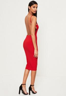 Red Square Neck Ribbed Open Back Midi Dress